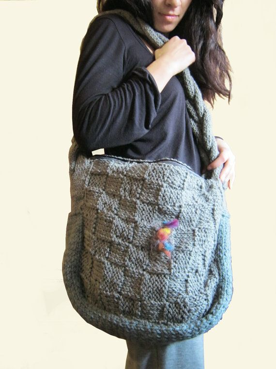 knitted tote bag by artfantasyjewellry on Etsy