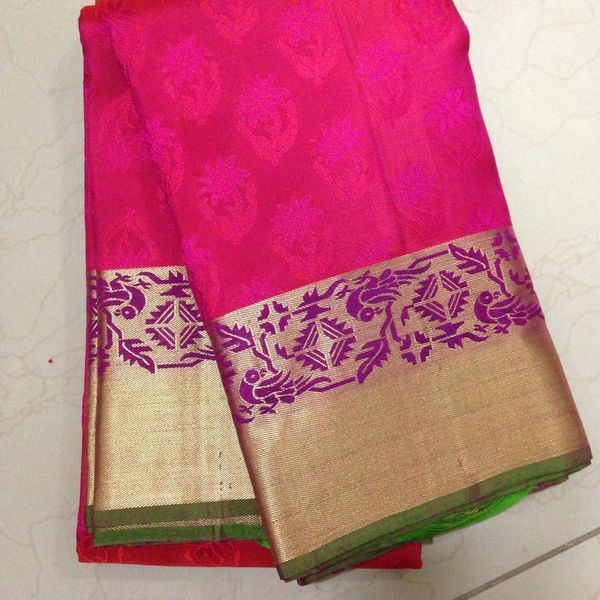 Buy KSS5500020-THAMBOORI's Jaquard woven kanjeevaram Silk-Pink purple beauty, 1.1kg online - Handwoven Kanchivarams,Soft Silks, Silk Cottons and Tussars!