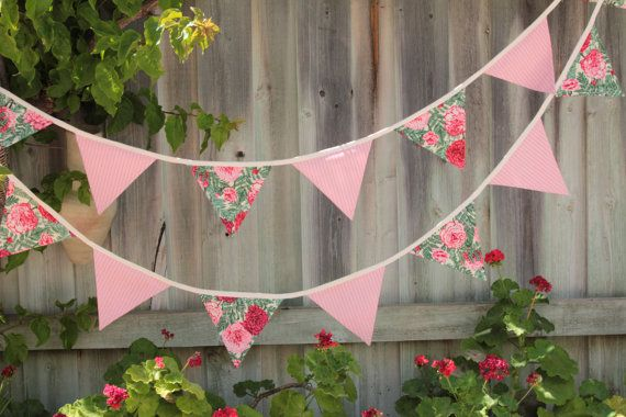 Pretty Pink Florals and Stripes Bunting 4m by Buntingbybubbles
