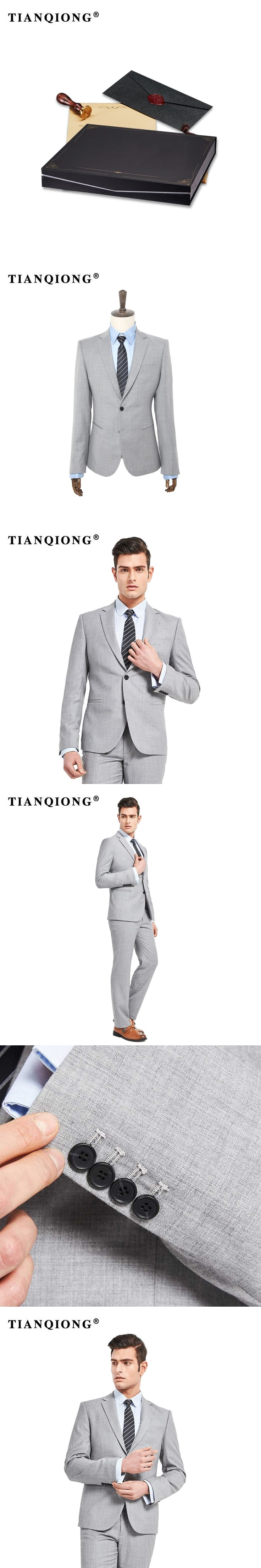 TIAN QIONG 2018 Taliored Made Light Grey Man Suit Single Breasted Groom Tuxedos Mens Wedding Prom Dinner Suits(Jakcet+Pants)