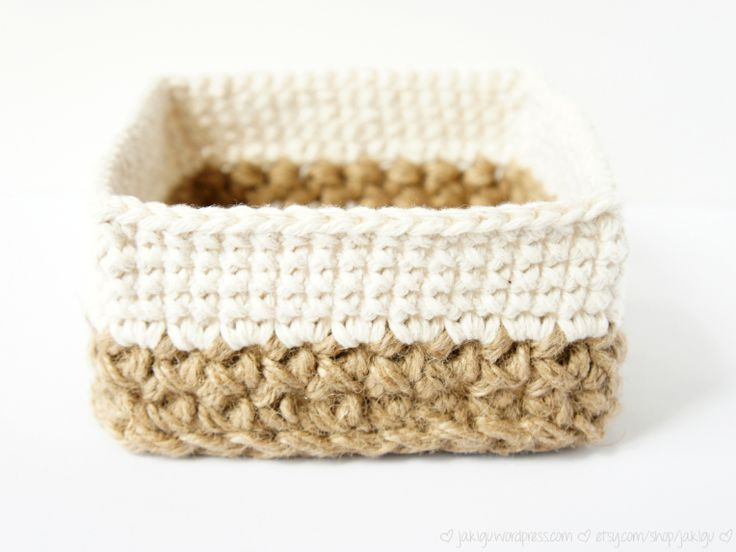 Square Jute and Cotton Stacking Crochet Baskets by JaKiGu - Pattern in the Working