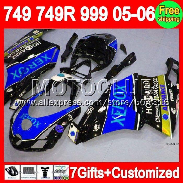 Синий черный 7 подарки + 05 - 06 для DUCATI 749 999 05 06 749 749R 999R 7C135 749 - 999 2005 - 2006 ксероксная синий 749 S 999 S 2005 2006 зализа