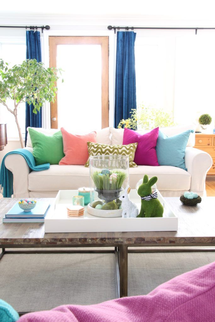 Easy Easter Decorating With Bright Cheerful Spring Colors Decor Easy Easter Decorations Home Decor
