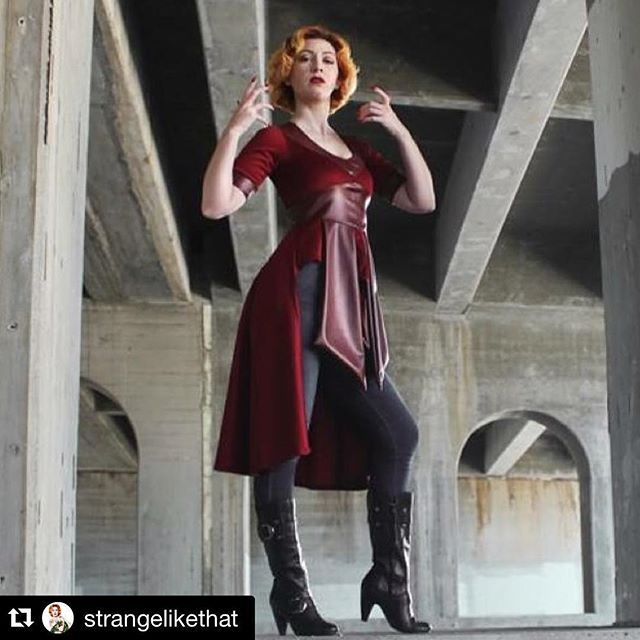 #Repost @strangelikethat with @repostapp. ・・・ Good morning Insta-verse! Thought I'd start out the day with this shot of me wearing @elhofferdesign 's new Scarlet Witch inspired top. It is insanely flattering! #elhofferdesign #marvel #comics #scarletwitch #wandamaximoff #mutant #fashion #model