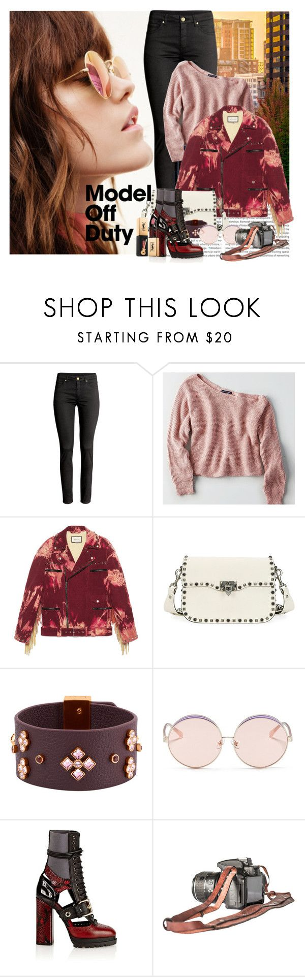 """""""Model Off Duty"""" by mimjersey ❤ liked on Polyvore featuring American Eagle Outfitters, Gucci, Valentino, Henri Bendel, N°21, Burberry and Yves Saint Laurent"""