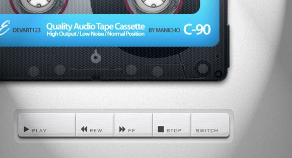 Old School Cassette Player with HTML5 Audio. http://tympanus.net/Development/CassettePlayer/ --- http://www.rudebox.org.ua/cassette-player-with-html5-audio/ http://tympanus.net/Development/CassettePlayer/