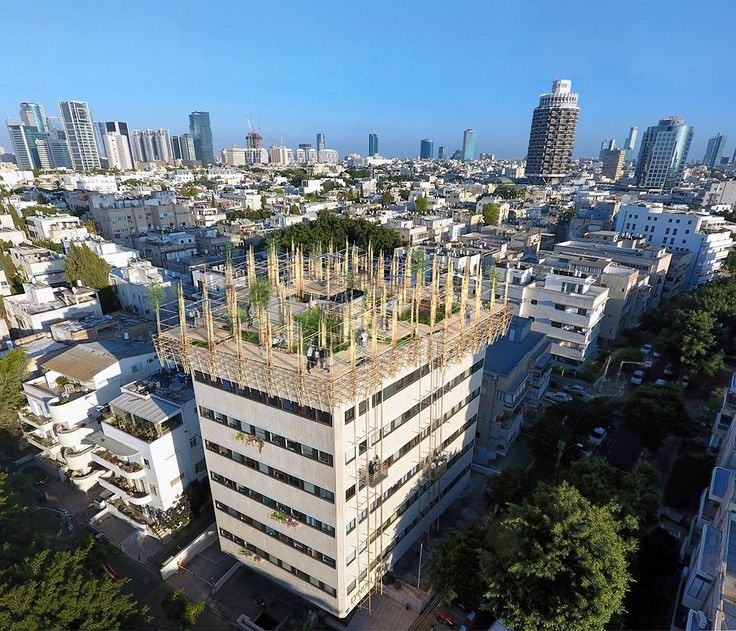 """Geddes 2.0 - Rooftop Public Space of the """"White City"""". The project is based on the desire to preserve the urban planning vision of the Sir Patrick Geddes - to maintain the proportion between residential density and the amount of public space, and at the same time  to givethe city of Tel Aviv an opportunity to develop in it'snatural way."""