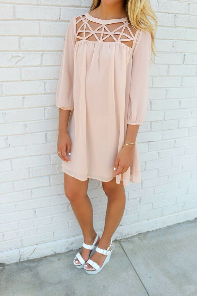 Endless Relaxation High Neck Cut Out Taupe Quarter Sleeve Shift Dress
