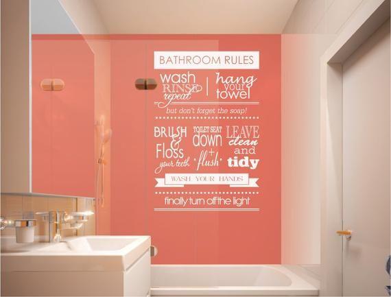 Bathroom Rules Bathroom Wall Decor Bathroom Wall Art Etsy Bathroom Rules Bathroom Wall Stickers Bathroom Wall Art