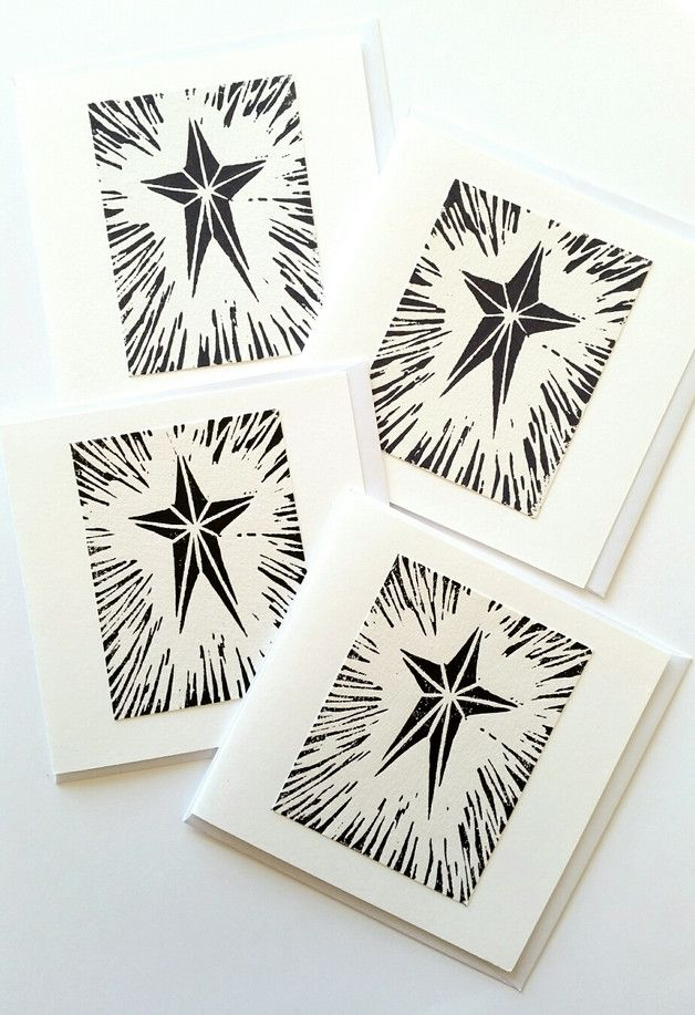 These delightful Star Christmas cards are printed in dark grey and black water based inks onto thick white paper which is then mounted onto a white card. I designed and cut the lino and all the...