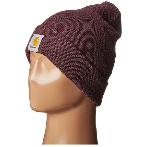 Carhartt Acrylic Watch Hat (Deep Wine) Caps ($12) ❤ liked on Polyvore featuring accessories, hats, beanie cap hat, carhartt cap, carhartt beanie, foldable hat and acrylic hat