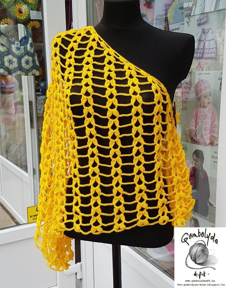 GOMBOLYDA: horgolt kendő levél mintával (crochet shawl)