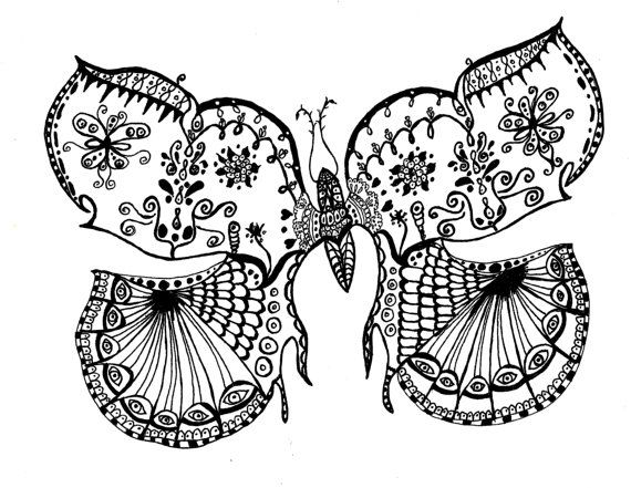 black and white art pen and ink butterfly insect signed 5