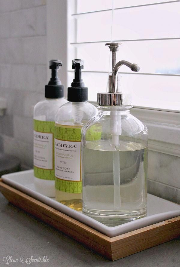 Use A Bathroom Tray To Chorale Hand Soap Lotion And Dish Soap Together On The Kitchen Co Kitchen Sink Organization Kitchen Soap Dispenser Sink Soap Dispenser