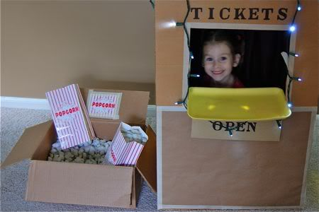 I do love this idea. I think we will do a special family movie night to incorporate this, using real concession stand treats that Miss A can prepare. http://www.frugalfamilyfunblog.com/2009/07/pretend-play-on-dime-movie-day.html