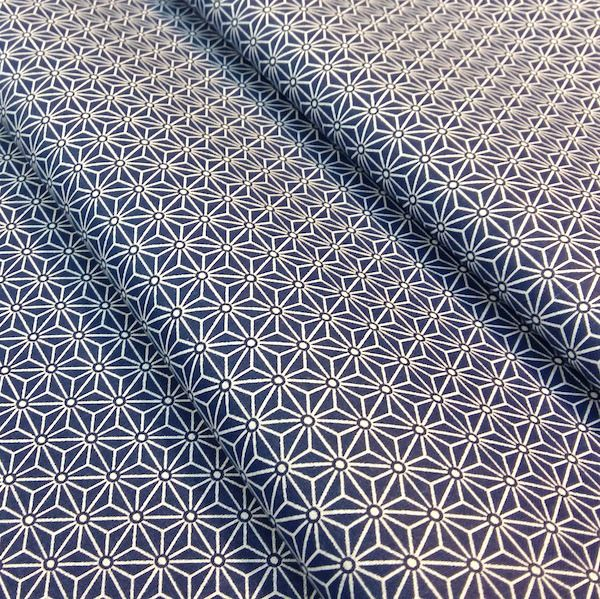 Tissu Saki 25x160cm motif japonais étoiles Asanoha bleu marine : Tissus à thème par nadege-tissus