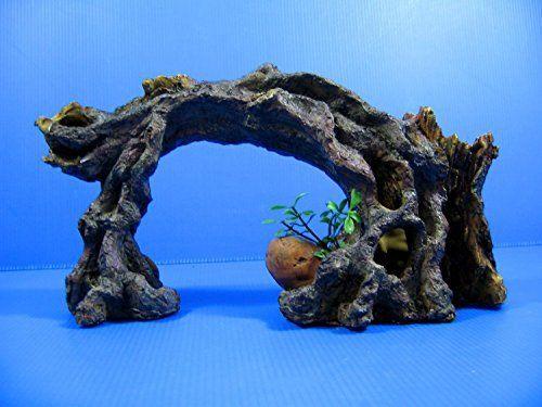 Tree Cave 27,5x 10,5x 16cm Décoration pour aquarium Decor–Vignes racine de bois flotté Arche en bois: Ornement est fait de matière…