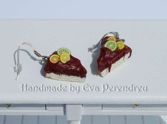 Earrings miniature chocolate cake slice silver by Evamini on Etsy, $15.50