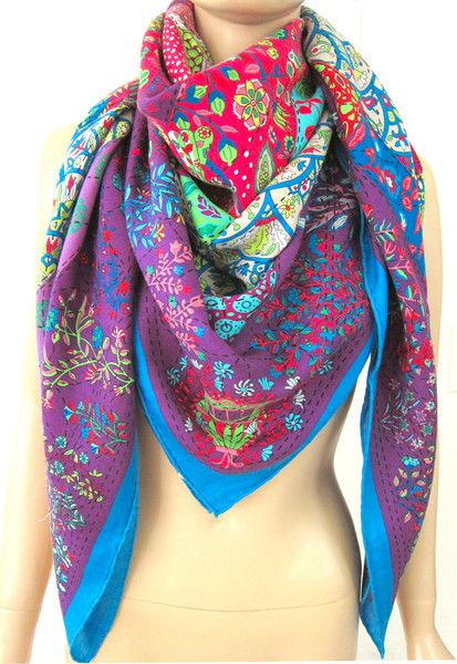 Cashmere Silk Scarf - FRESH FLOWERS by VIDA VIDA
