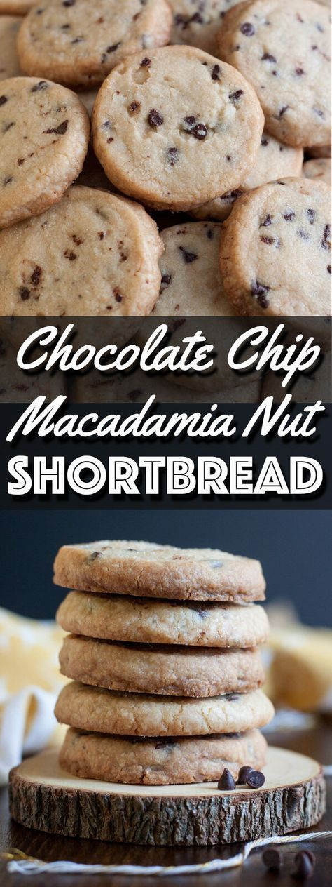 These Chocolate Chip Macadamia Nut Shortbread Cookies are nuttily delicious. They will satisfy your craving for those pineapple shape Honolulu Cookie Company shortbread in a pinch.   wildwildwhisk.com #shortbread #hawaiianshortbread