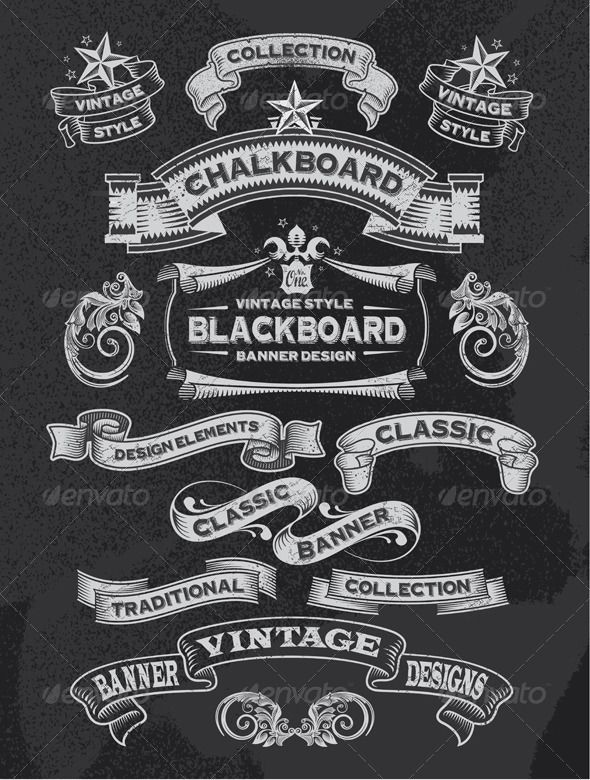 Chalkboard Banners and Ribbon Vector Design - Backgrounds Decorative