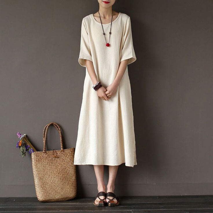 Women's Short Sleeve Cotton Solid A-Line Long Dress Summer Cocktail Party Dress #Unbranded #TeaDress #Cocktail