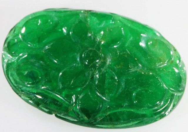 12.50 CTS DOUBLE SIDED CARVED NATURAL EMERALD [GOGO131] emerald carving