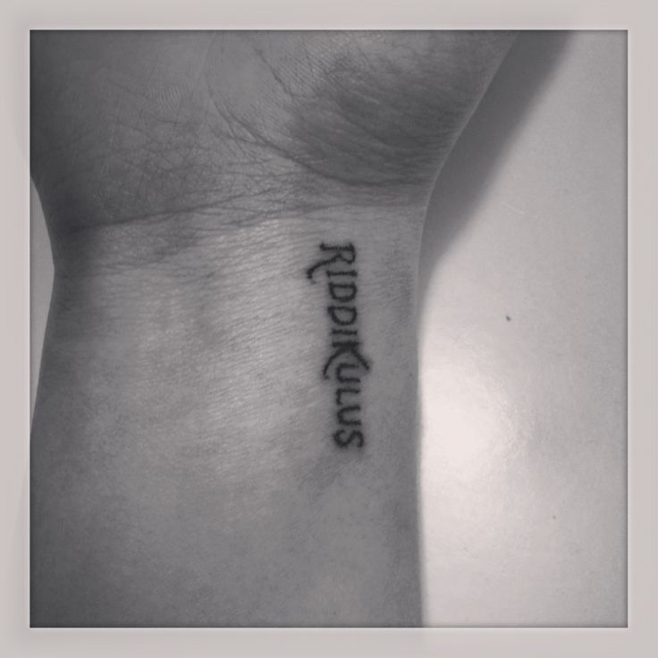 Riddikulus tattoo hand poked stick and poke harry potter tattoo small wrist text  Stoked that i finally did this one on my OWN wrist! im loving it!