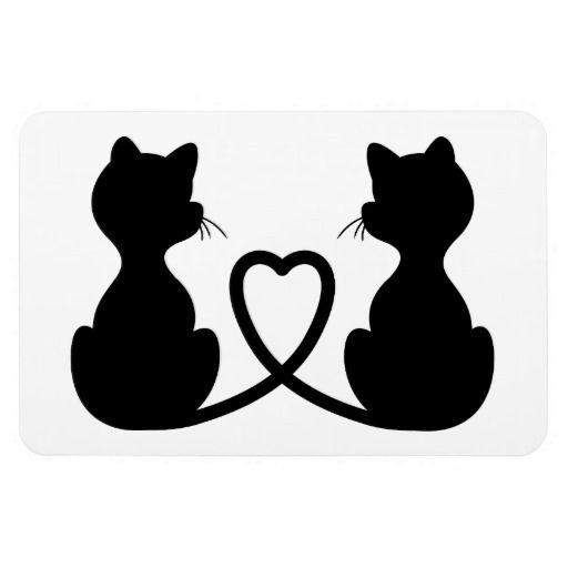 Zwart Silhouet van Twee Katten in Liefde Rechthoekige Magneet