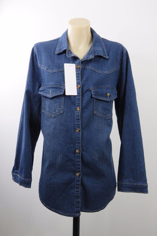 NWT Size L 14 Ladies Denim Shirt Top Vintage Retro Boho Chic Office Casual Style #CBQ #ButtonDownShirt #Casual