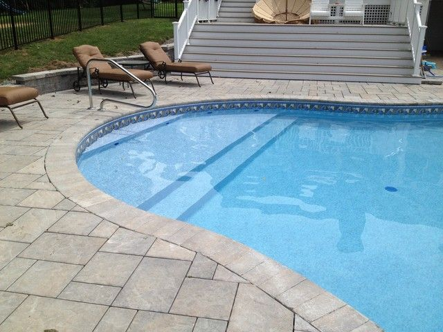 Water depth of tanning ledge baja shelf in a vinyl liner for Pool design with tanning ledge