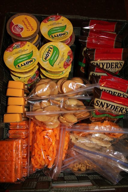 Good idea to prepackage all the snack choices for the kiddos....pick a snack, pack it in the bookbag, and done!
