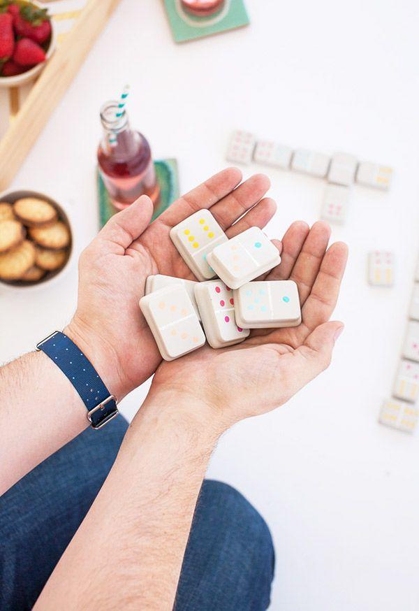 DIY Cement Dominoes using Oh Joy ice cube trays!