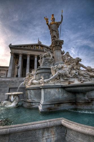 Parliament fountain in Vienna - Great shot