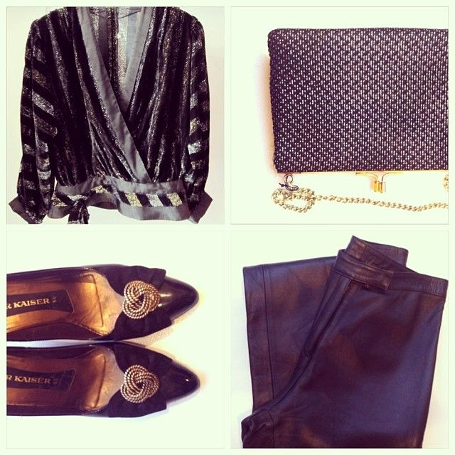 Vintage velvet top with lurex, vintage golden purse, vintage patent stilettos, vintage leather pants. All available in Beware of Limbo Dancers... find us on Facebook..