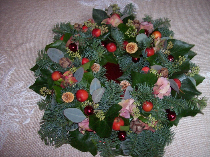 Kerstkrans 2012, gestoken op oasis