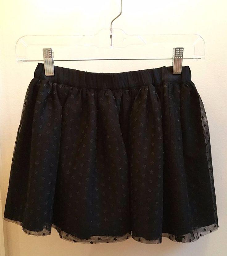GAP Kids Girls Black Star Lined Skater Skirt Dressy Size M #GapKids #SkaterSkirt #DressyEveryday