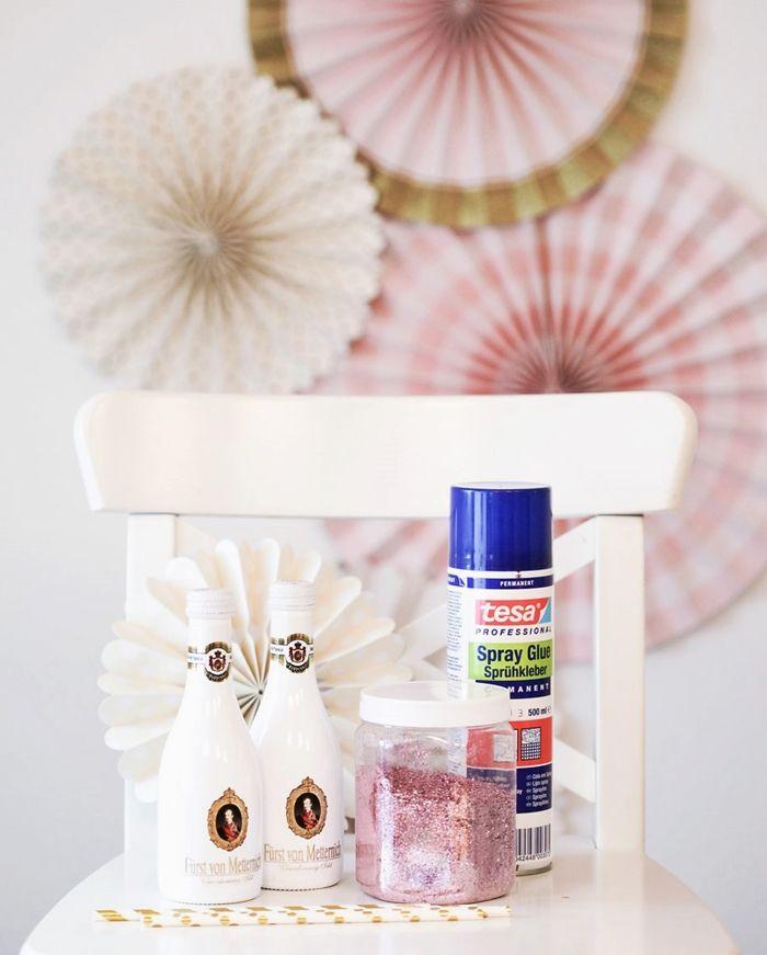 Bridal Shower DIY   Rosa Glitzer Sektflaschen