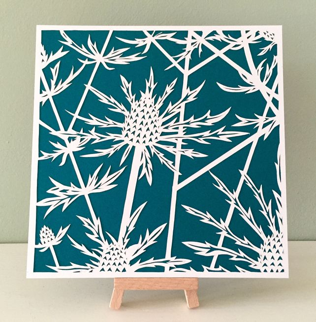 Colourful wall hanging, Paper cut art, Sea holly flowers, Unique gift £42.50