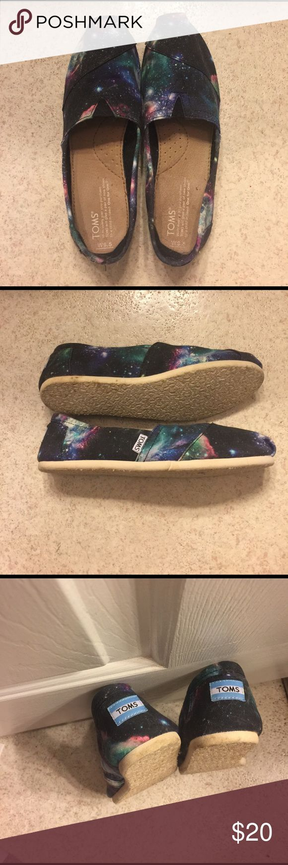 I am selling these Galaxy Tom shoes for 20 dollars These Galaxy Tom shoes are in great shape! They have only been worn once. They look almost brand new except they have a few smudges on the sides that can be cleaned off. TOMS Shoes Slippers