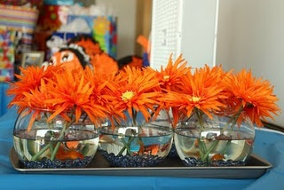 Goldfish in the centerpieces..   not sure what happens to the fish after this, but would be cute for her shower