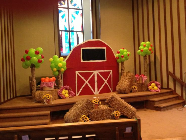I love the trees and the baskets of fruit!  Vbs decorations. Big Heart Farms