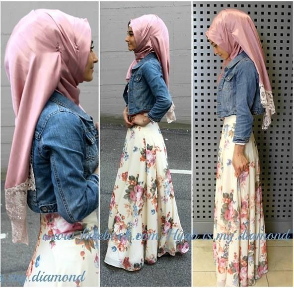 Hijab fashion-Denim shirt and florals