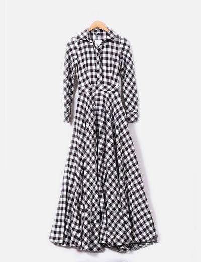 Maxi vestido de cuadros Suiteblanco