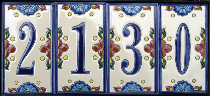 house number tiles    http://www.mexicantiles.com/ceramic-mexican-house-tile-numbers.html