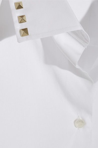 Valentino - Studded Cotton-poplin Shirt - White - IT