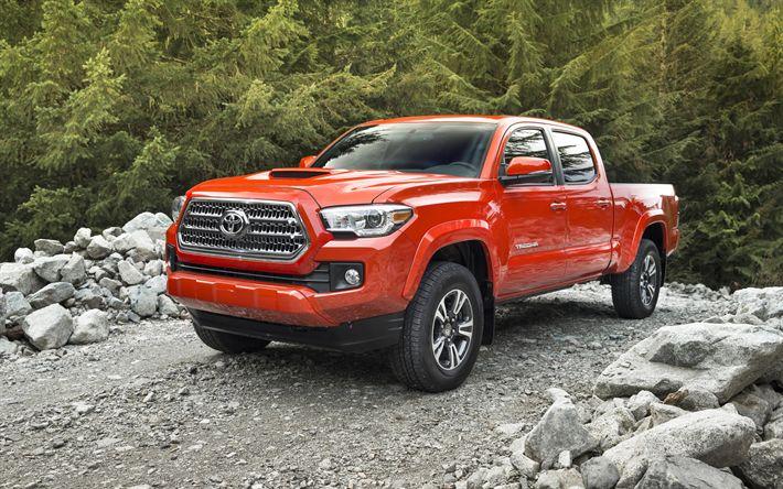 Download imagens Toyota Tacoma, TRD, Cabine Dupla, Laranja Tacoma, recebimento, Os carros americanos, Toyota