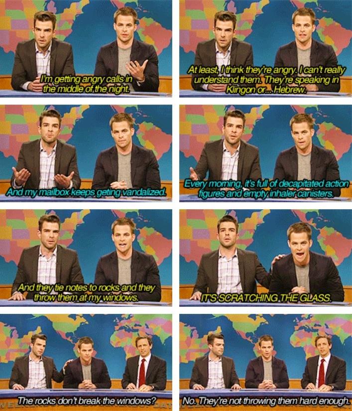 Zachary and Chris discuss crazy star trek fans -- Weekend Update, SNL