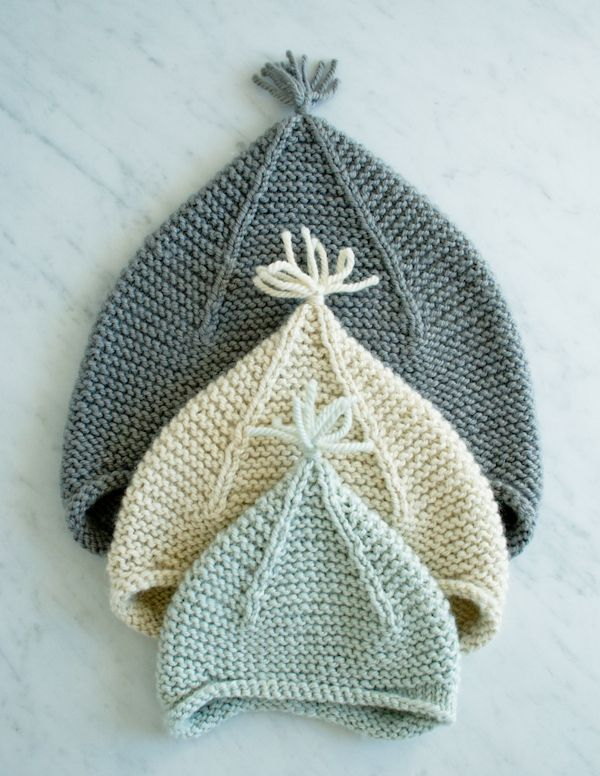 Garter stitch pixie hat by purlsoho.com