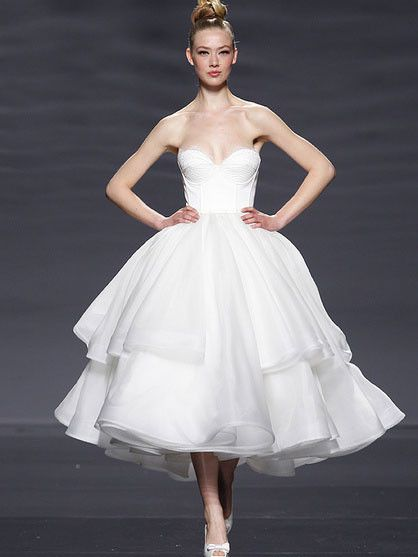 Retro 50s Strapless Organza Tiered Tea Length Tulle  Dress DV1039 - Tier proportions